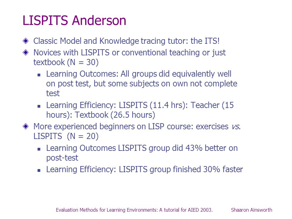 LISPITS Anderson Classic Model and Knowledge tracing tutor: the ITS!