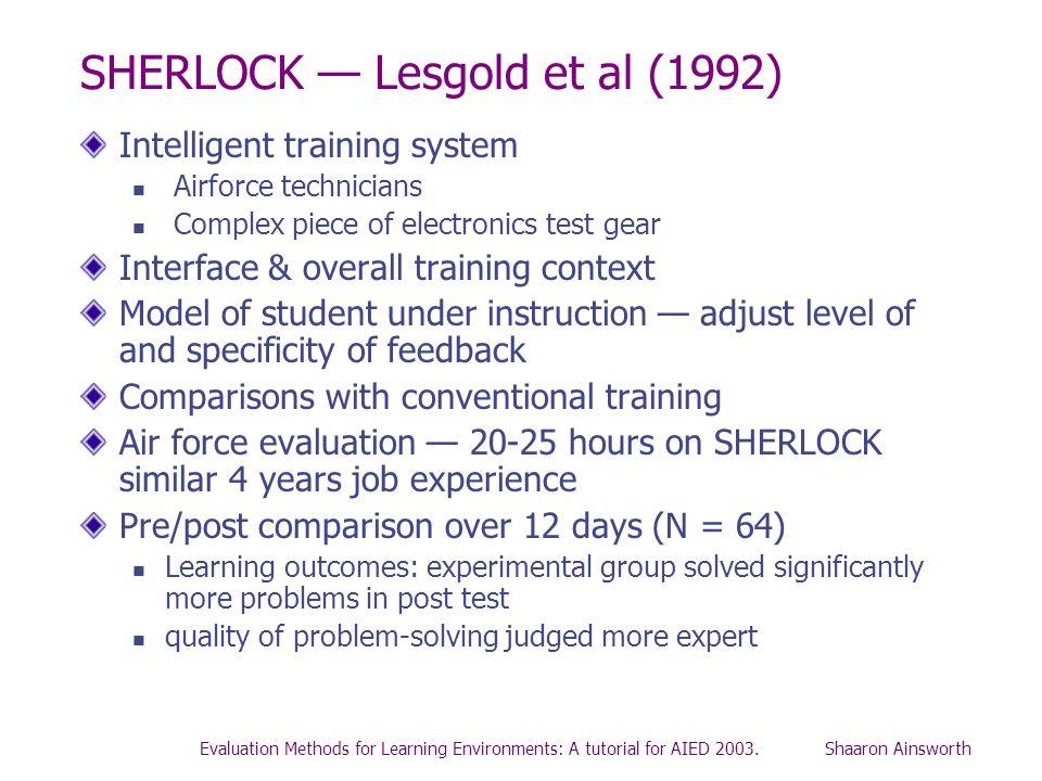 SHERLOCK — Lesgold et al (1992)