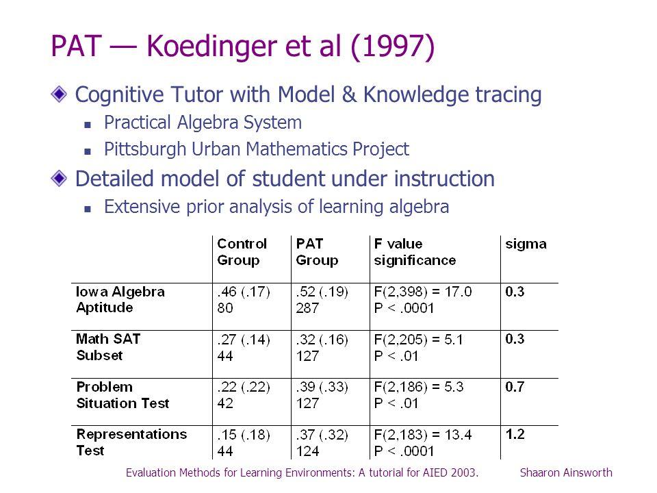 PAT — Koedinger et al (1997) Cognitive Tutor with Model & Knowledge tracing. Practical Algebra System.