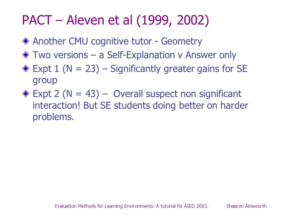 PACT – Aleven et al (1999, 2002) Another CMU cognitive tutor - Geometry. Two versions – a Self-Explanation v Answer only.