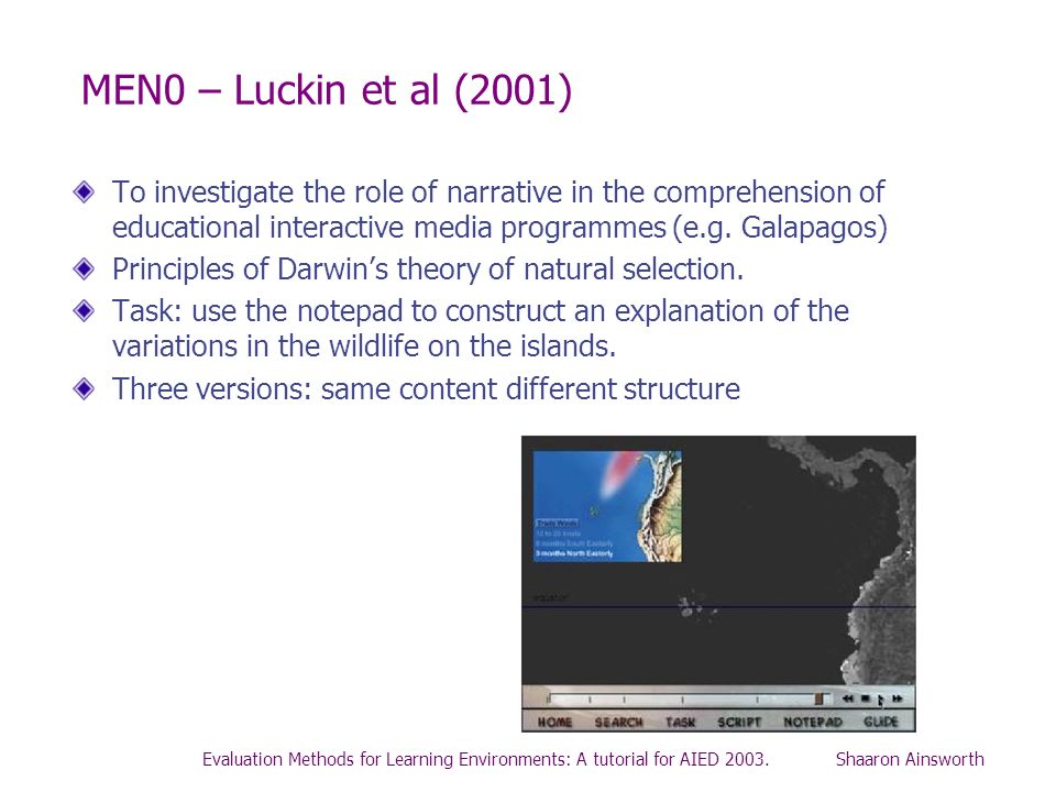MEN0 – Luckin et al (2001)To investigate the role of narrative in the comprehension of educational interactive media programmes (e.g. Galapagos)