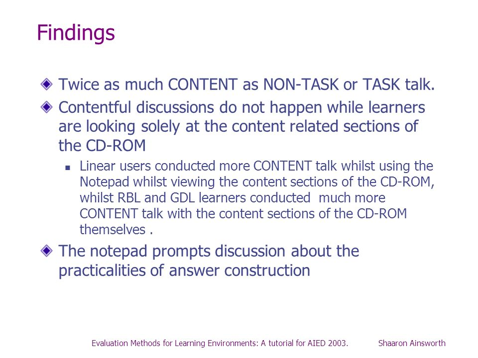 Findings Twice as much CONTENT as NON-TASK or TASK talk.