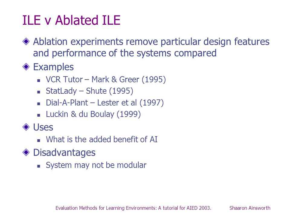 ILE v Ablated ILEAblation experiments remove particular design features and performance of the systems compared.