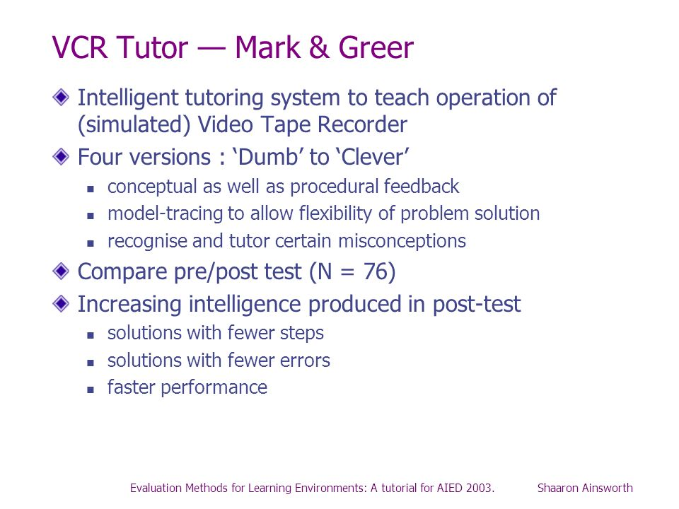 VCR Tutor — Mark & Greer Intelligent tutoring system to teach operation of (simulated) Video Tape Recorder.