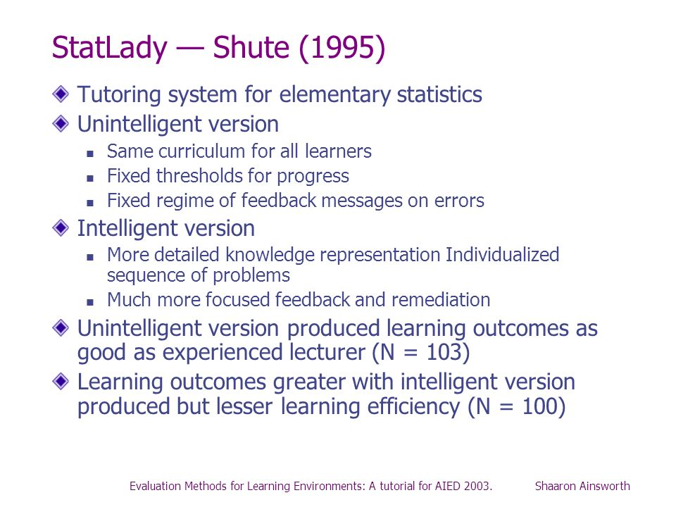StatLady — Shute (1995) Tutoring system for elementary statistics