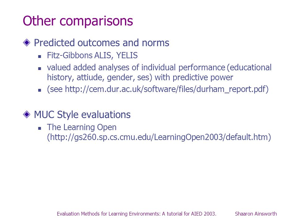 Other comparisons Predicted outcomes and norms MUC Style evaluations