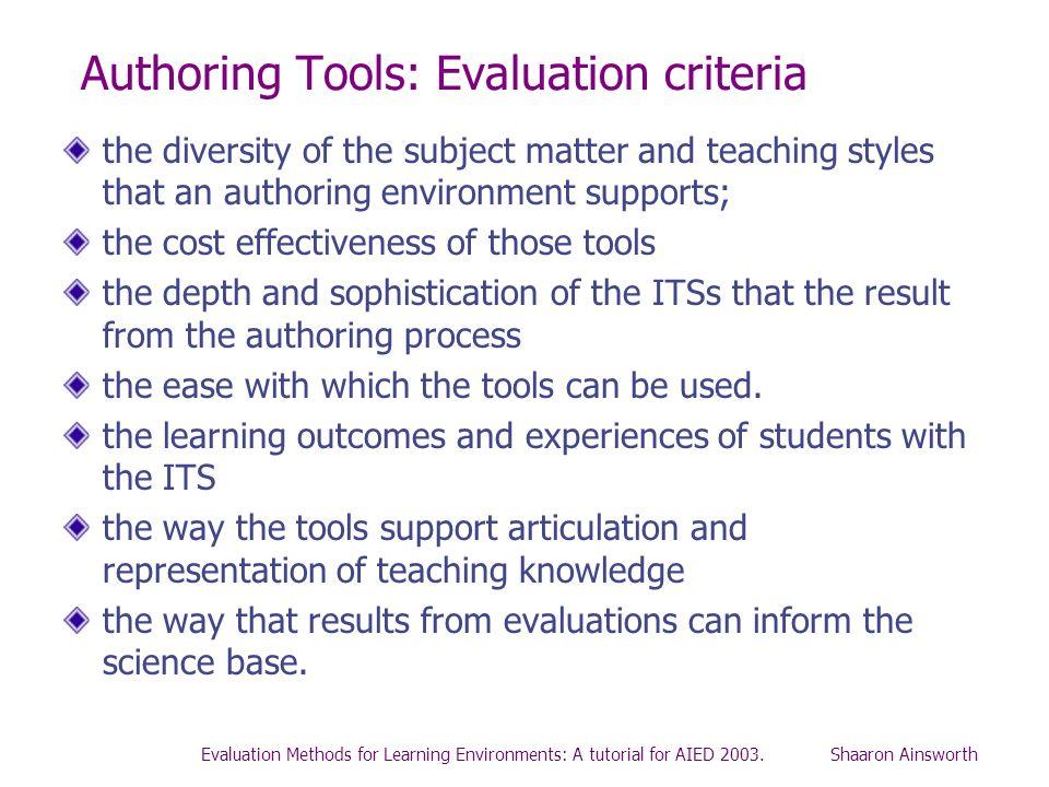 Authoring Tools: Evaluation criteria