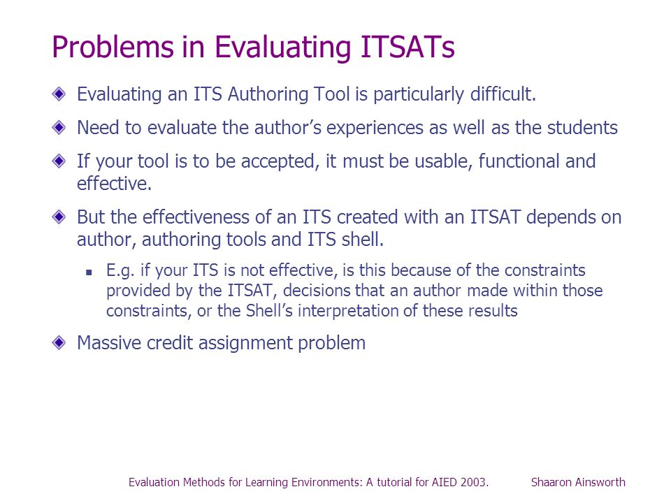Problems in Evaluating ITSATs
