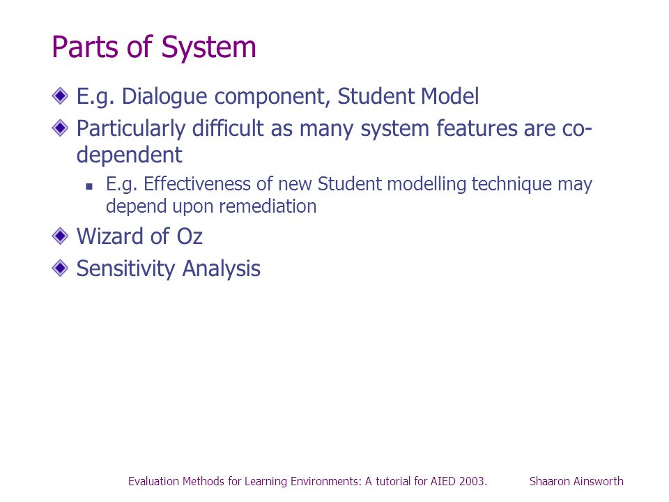 Parts of System E.g. Dialogue component, Student Model
