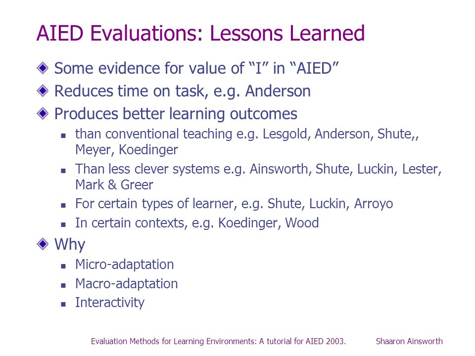 AIED Evaluations: Lessons Learned