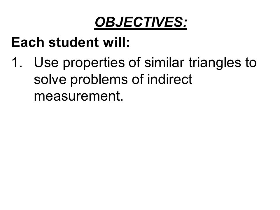 Welcome to Math 6 x Problem Solving Using Indirect Measurement – Indirect Measurement Worksheet
