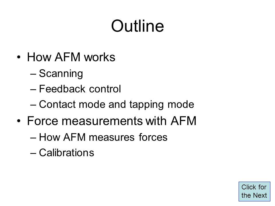 Outline How AFM works Force measurements with AFM Scanning