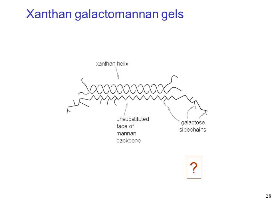 Xanthan galactomannan gels