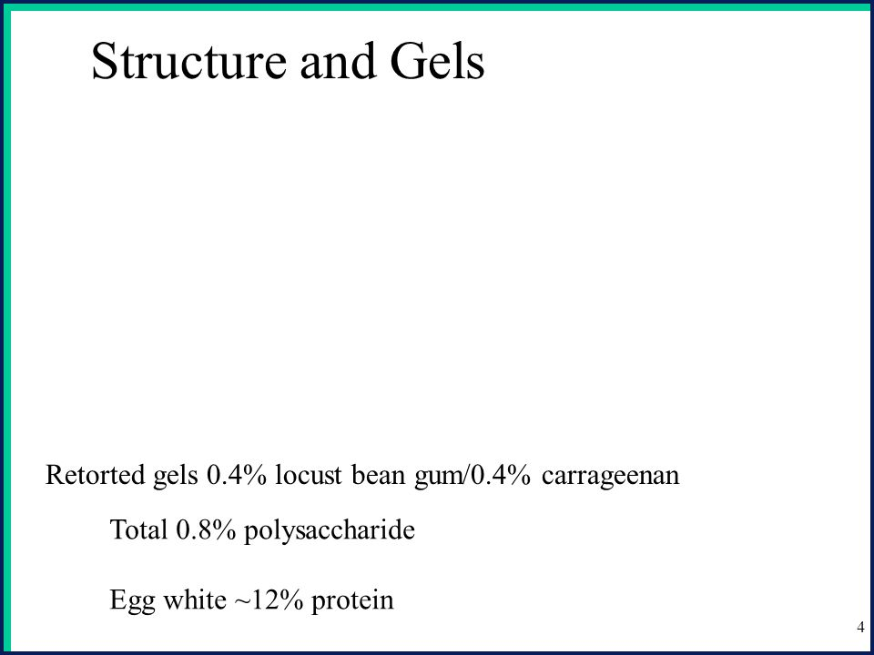 Structure and Gels Retorted gels 0.4% locust bean gum/0.4% carrageenan