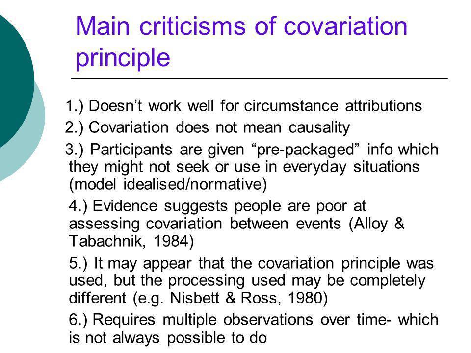 Main criticisms of covariation principle