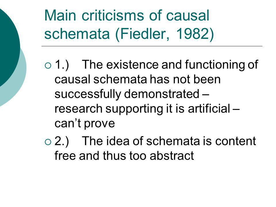 Main criticisms of causal schemata (Fiedler, 1982)