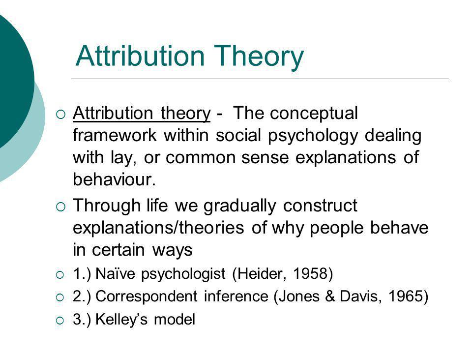 attribution theories Attributions as behavior explanations: toward a new theory  attribution theories, by contrast, are theories of more specific attribution phenomena.