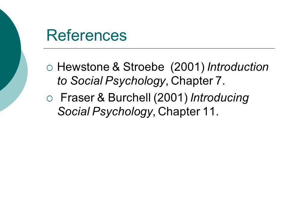 References Hewstone & Stroebe (2001) Introduction to Social Psychology, Chapter 7.