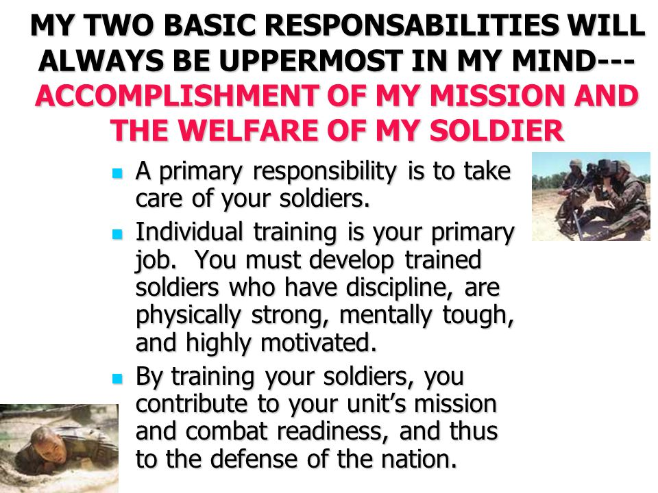 "my leadership credo mission accomplishment In my over 28 years in the air force, i've been around some great and some   organization and ensure air force mission accomplishment the 13 traits are  listed  credit–a leader lives by the credo, ""it's amazing what you can get done ."