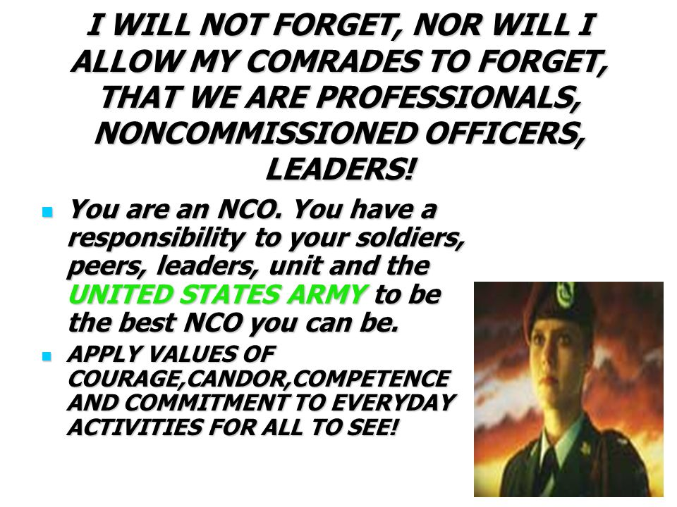 Army nco accountability and responsibility