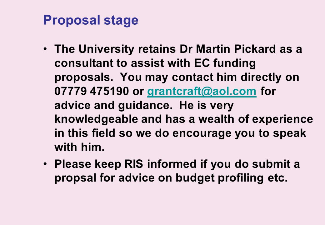 Proposal stage