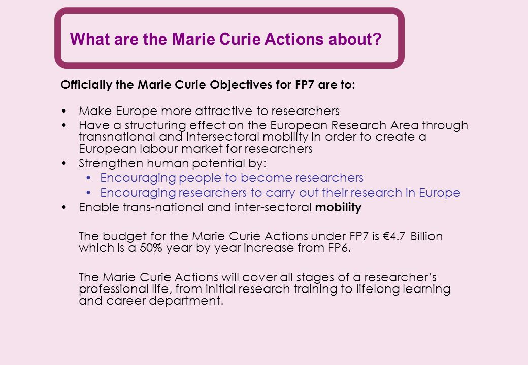 What are the Marie Curie Actions about