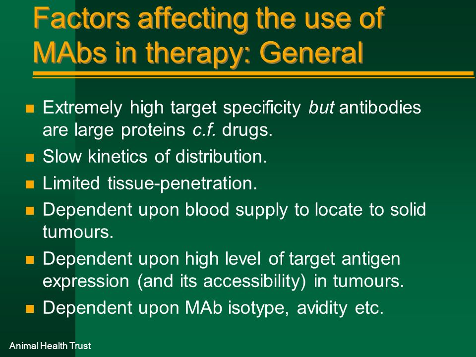Factors affecting the use of MAbs in therapy: General