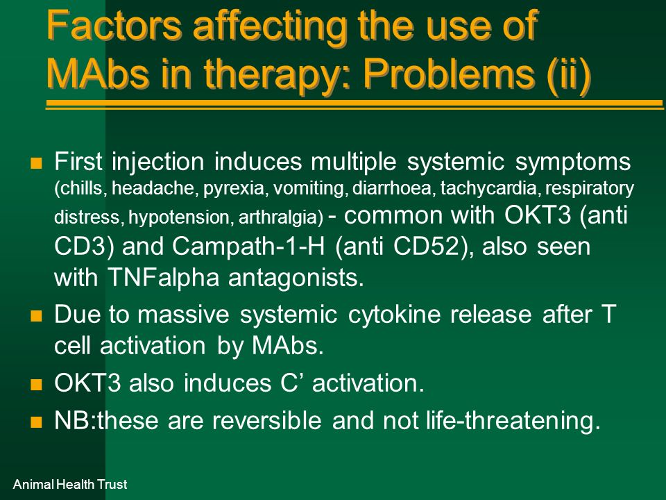 Factors affecting the use of MAbs in therapy: Problems (ii)