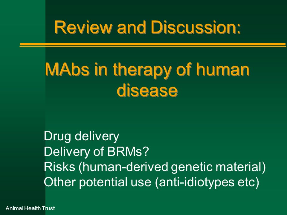 Review and Discussion: MAbs in therapy of human disease