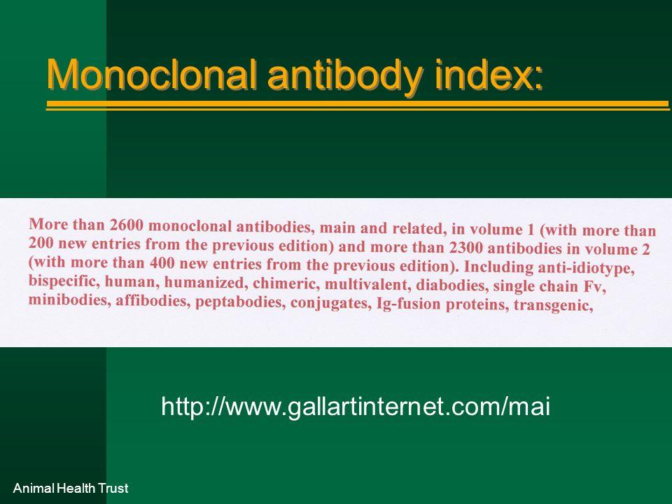 Monoclonal antibody index:
