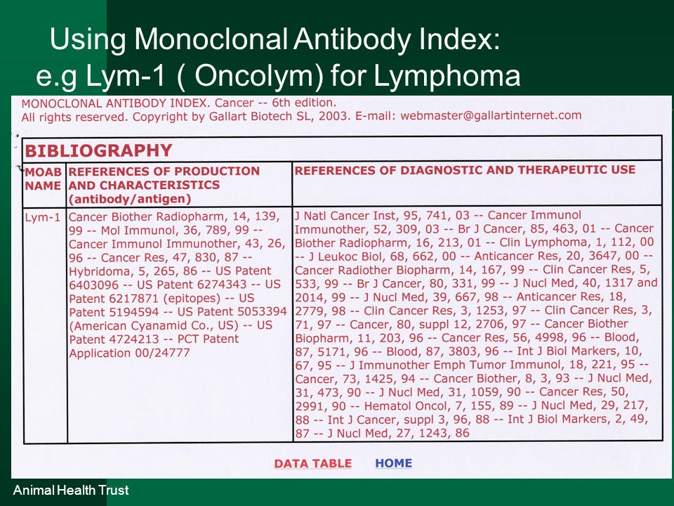 Using Monoclonal Antibody Index: e.g Lym-1 ( Oncolym) for Lymphoma