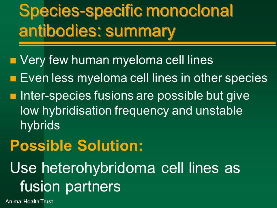 Species-specific monoclonal antibodies: summary
