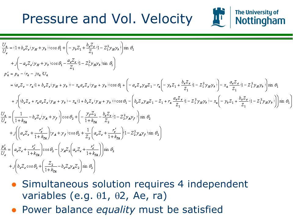 Pressure and Vol. Velocity