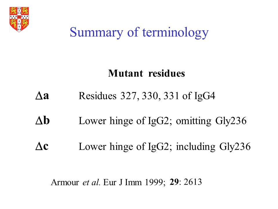 Summary of terminology