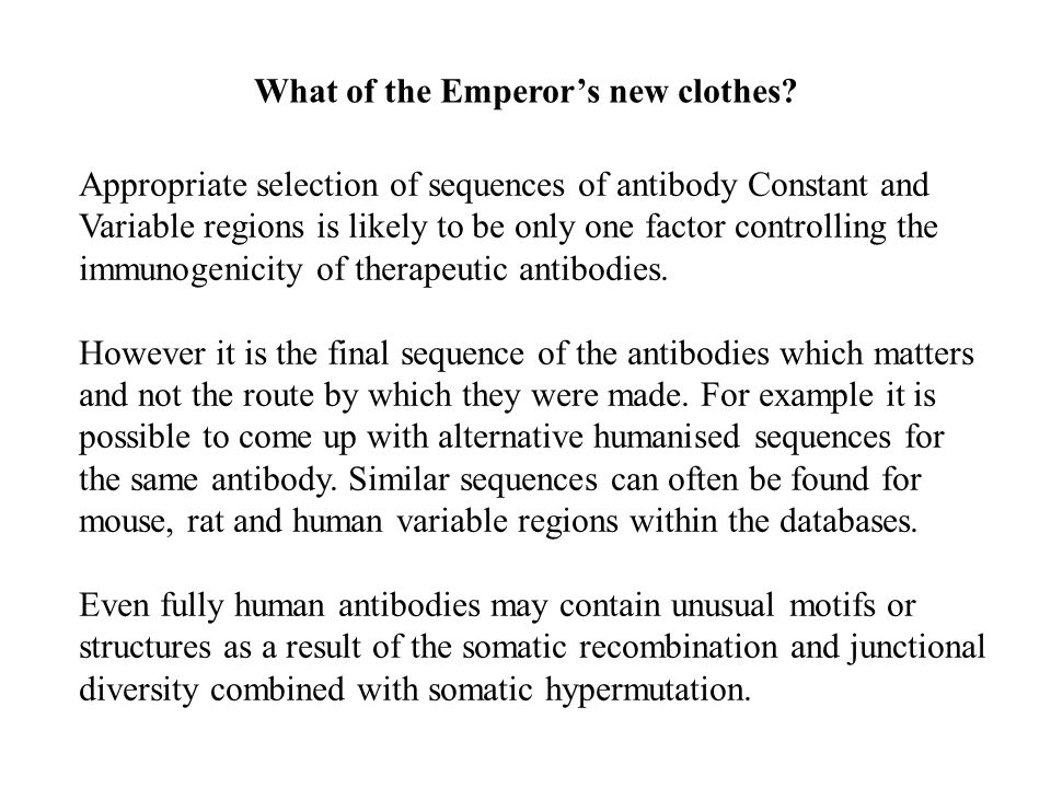 What of the Emperor's new clothes