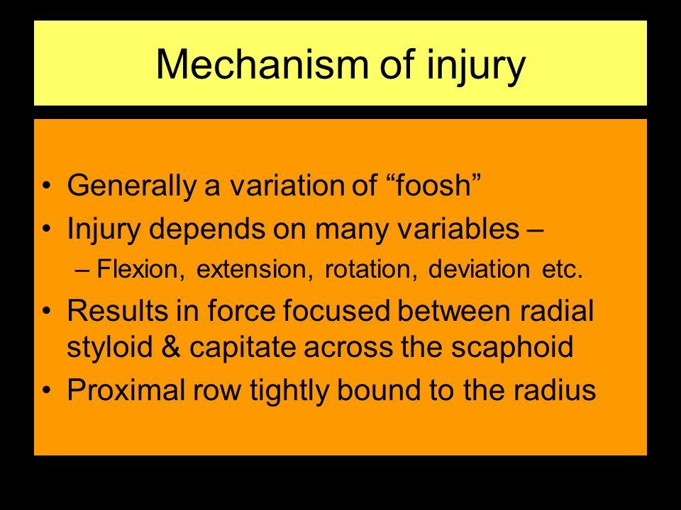 Mechanism of injury Generally a variation of foosh
