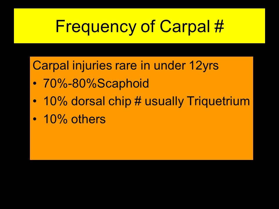 Frequency of Carpal # Carpal injuries rare in under 12yrs