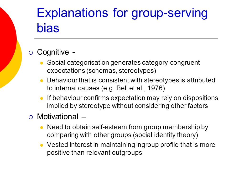 Explanations for group-serving bias