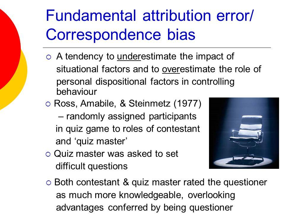 Fundamental attribution error/ Correspondence bias