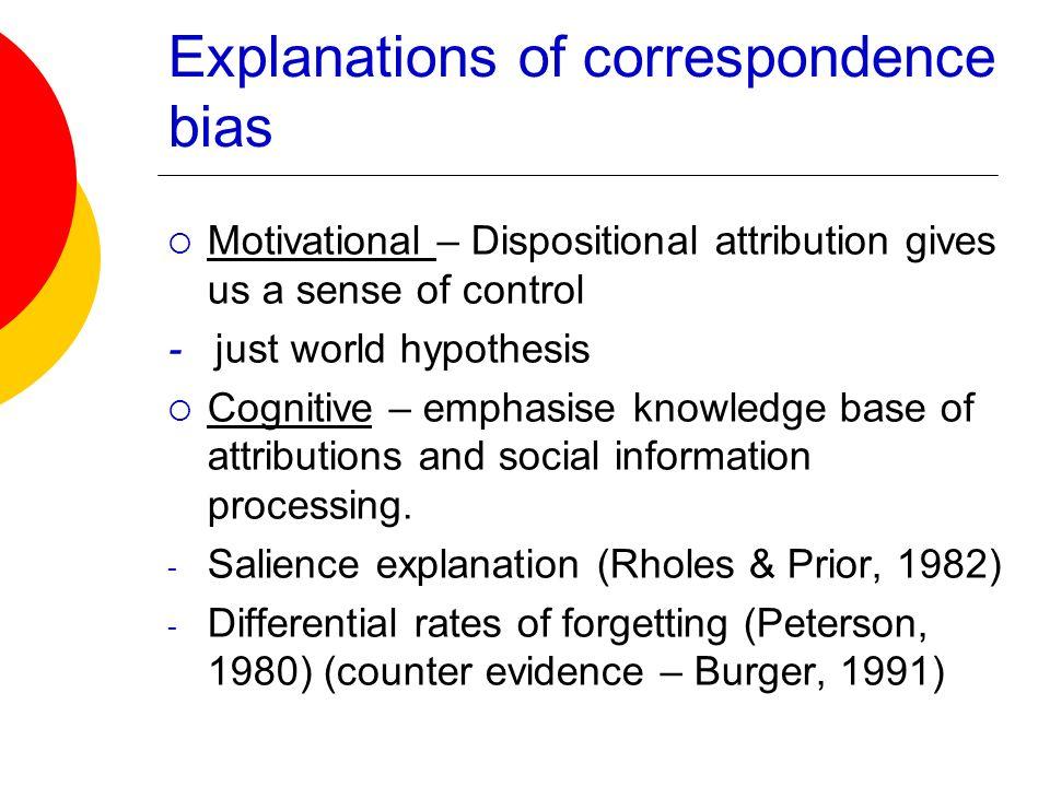 Explanations of correspondence bias
