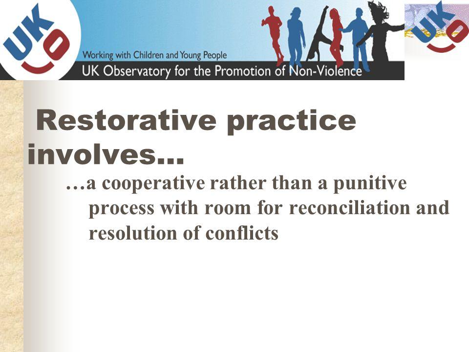 Restorative practice involves…