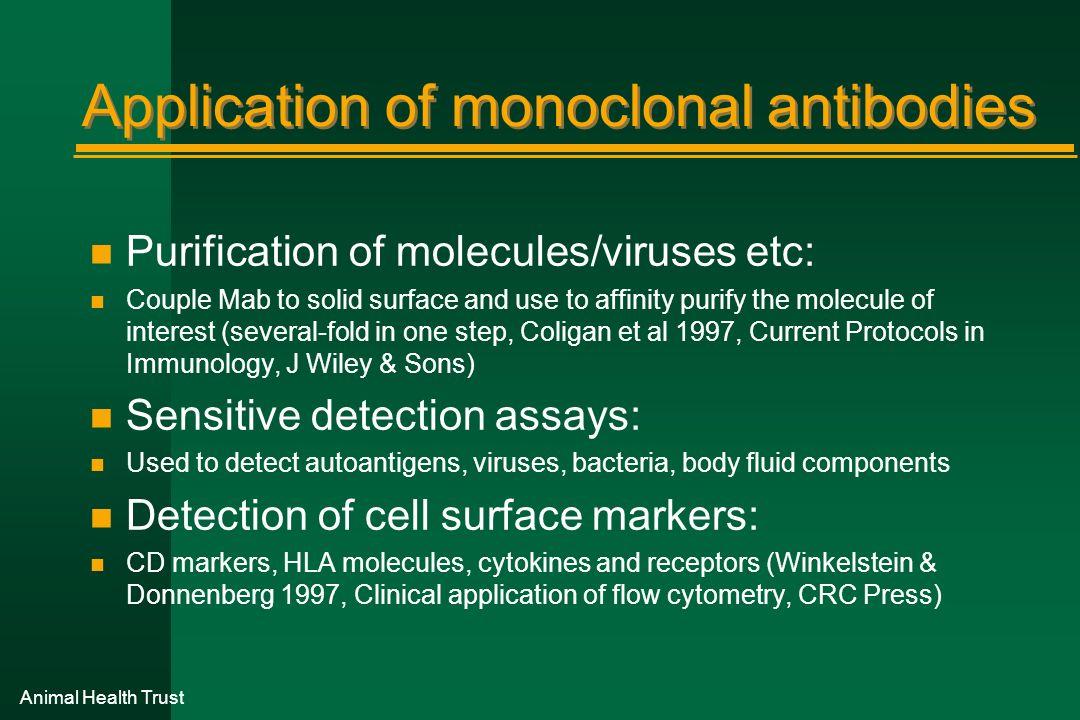 Application of monoclonal antibodies