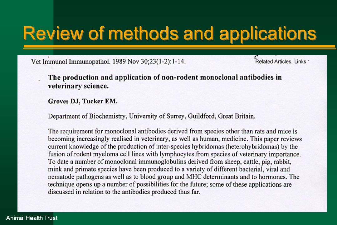 Review of methods and applications