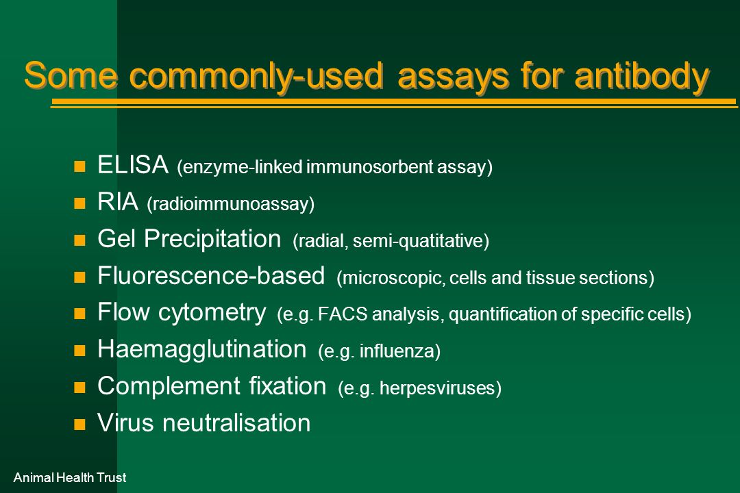 Some commonly-used assays for antibody