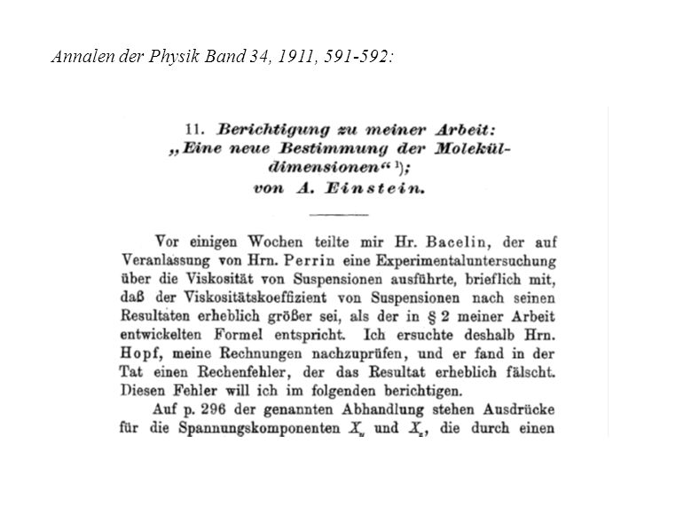Annalen der Physik Band 34, 1911, 591-592: