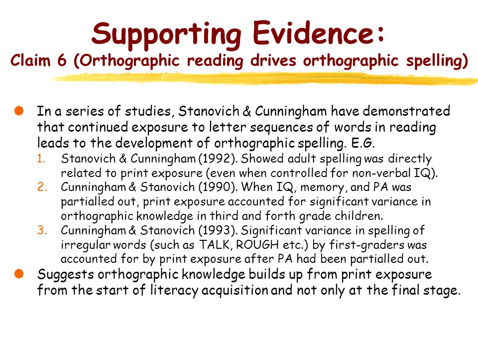 Supporting Evidence: Claim 6 (Orthographic reading drives orthographic spelling)