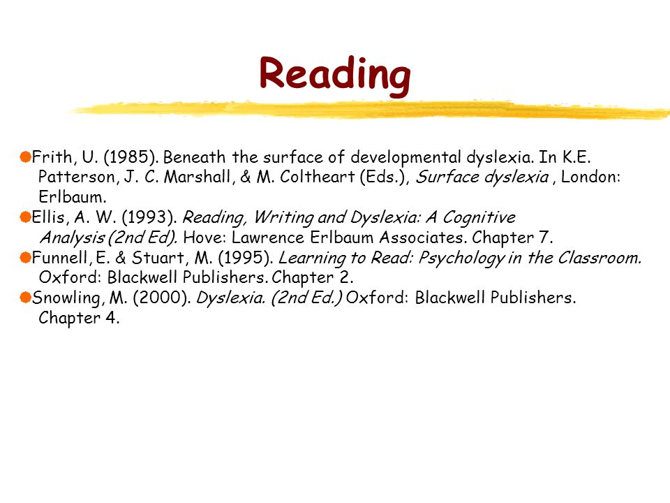 Reading Frith, U. (1985). Beneath the surface of developmental dyslexia. In K.E.