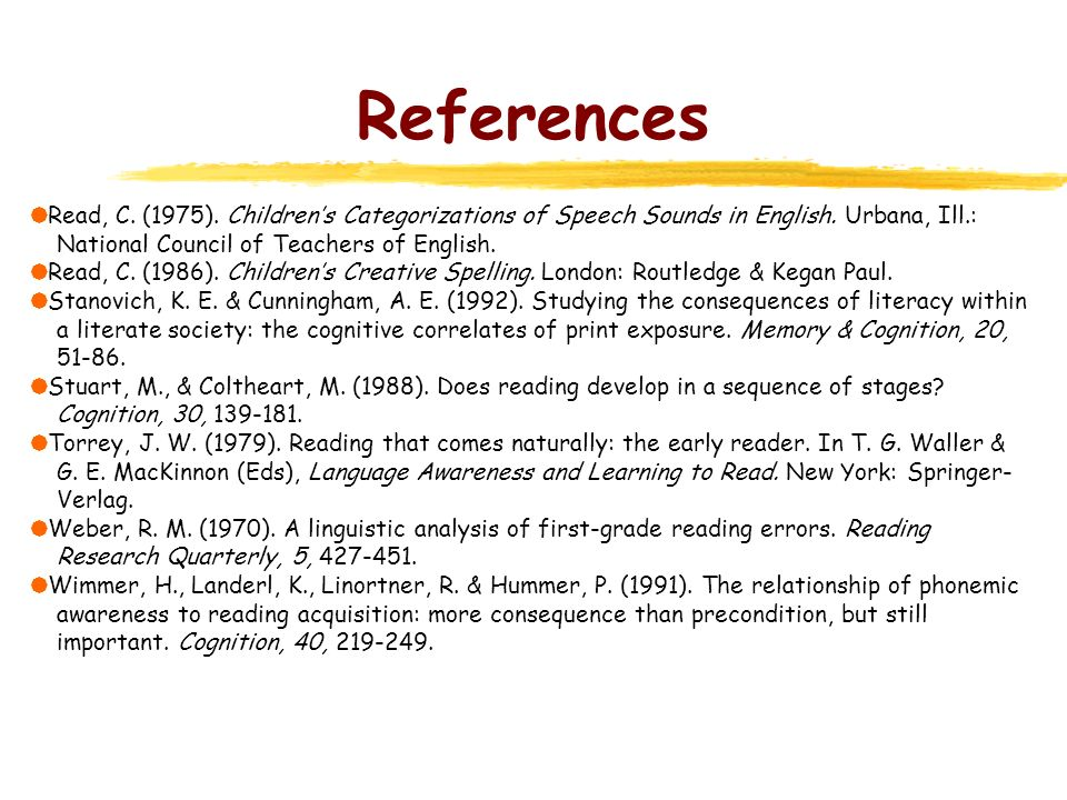 References Read, C. (1975). Children's Categorizations of Speech Sounds in English. Urbana, Ill.: National Council of Teachers of English.