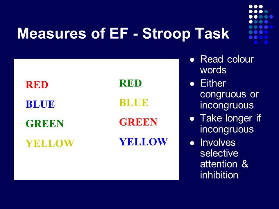 Measures of EF - Stroop Task