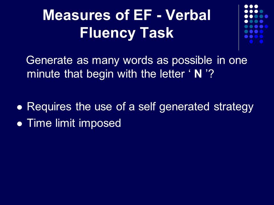Measures of EF - Verbal Fluency Task